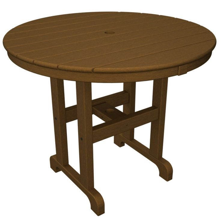 Outdoor POLYWOOD® Round 36 in. Recycled Plastic Dining Table Black
