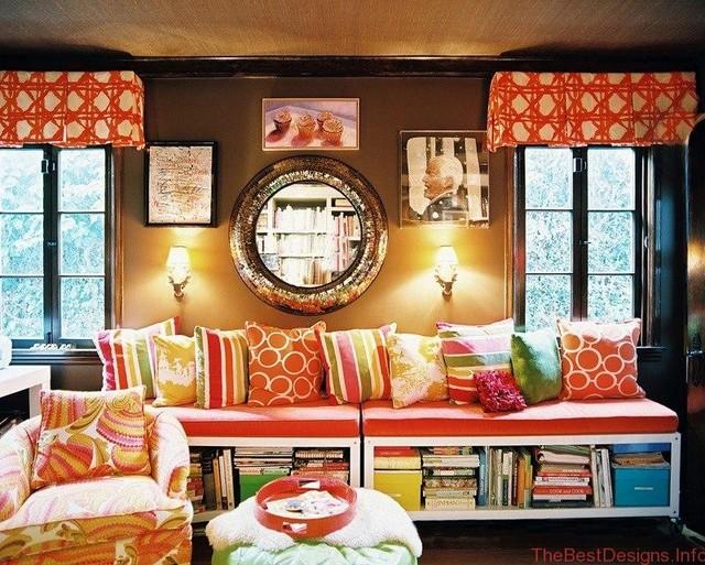 Bright decorative colorful pillows
