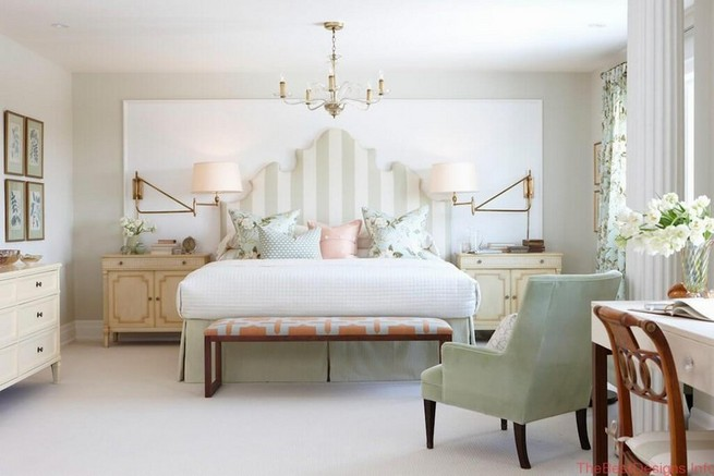 Bedroom design in the classic style of angel white and delicate colors
