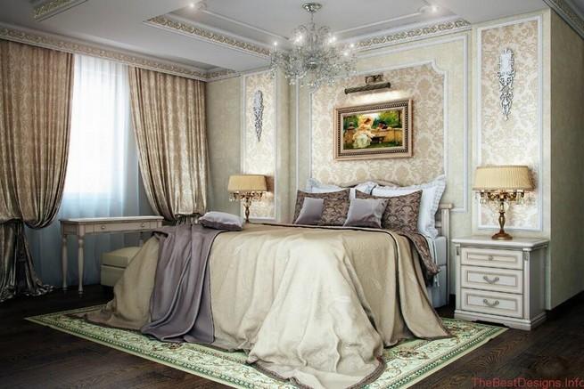 Bedroom design in a classic white palette