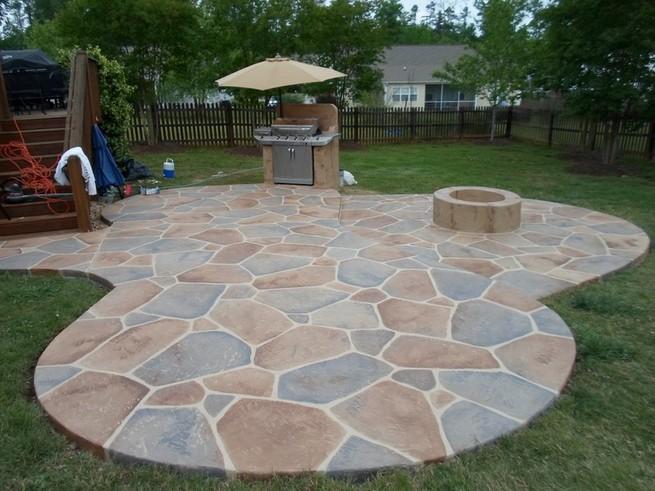 Paint concrete terrace to look like tile