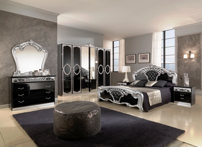 Modern classic bedroom in black and gray
