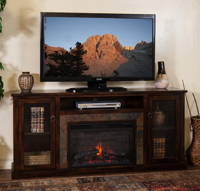 Electric fireplace TV stand large elegant