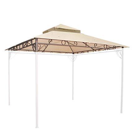 10u0027x10u0027 waterproof gazebo top 2 tier replacement uv30+ outdoor yard canopy PQFBUNE