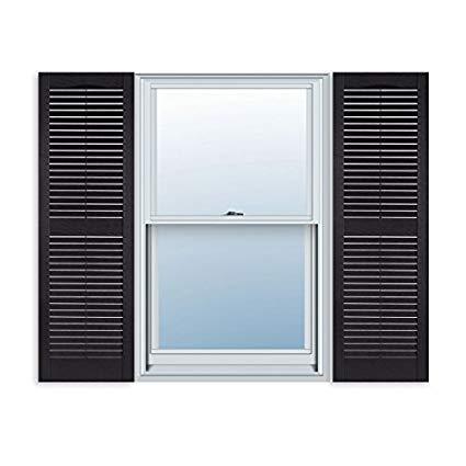 15 inch x 59 inch standard louver exterior vinyl window shutters, black RIYVNLJ