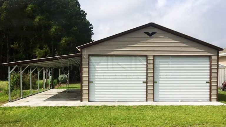 22x26x10 metal garage with lean to ZHXPKBT
