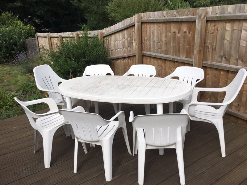 8 seat white plastic garden table chair set in ipswich SUHACJG