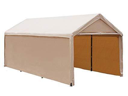 abba patio 10 x 20 ft heavy duty beige carport, car canopy WHXKSQS