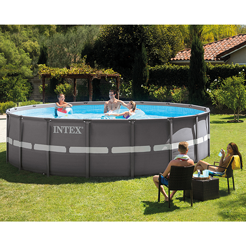 above ground pool intex ultra frame pool shown,