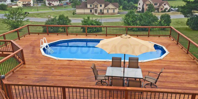 above ground pools with decks above ground pools