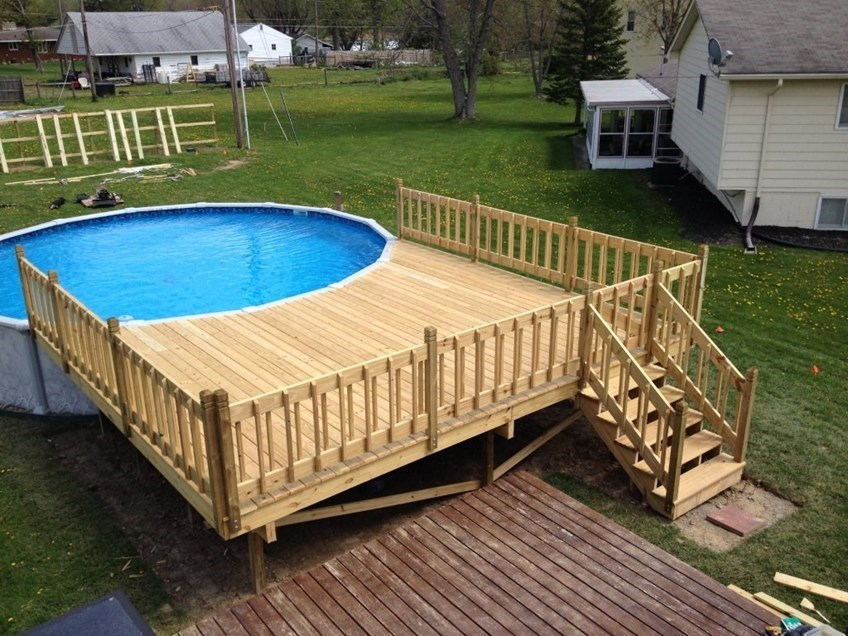 above ground pools with decks circular pool deck.