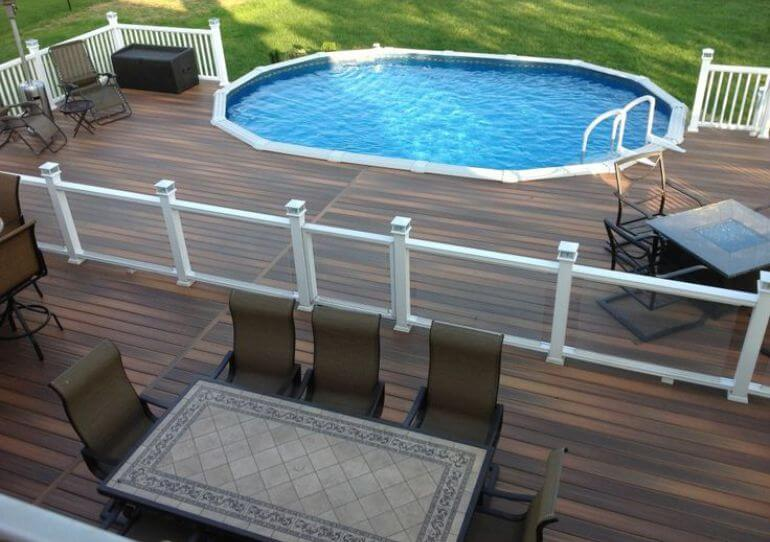 above ground pools with decks oval above ground