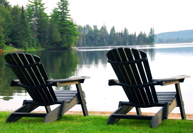adirondack chairs by water HQBFZVL