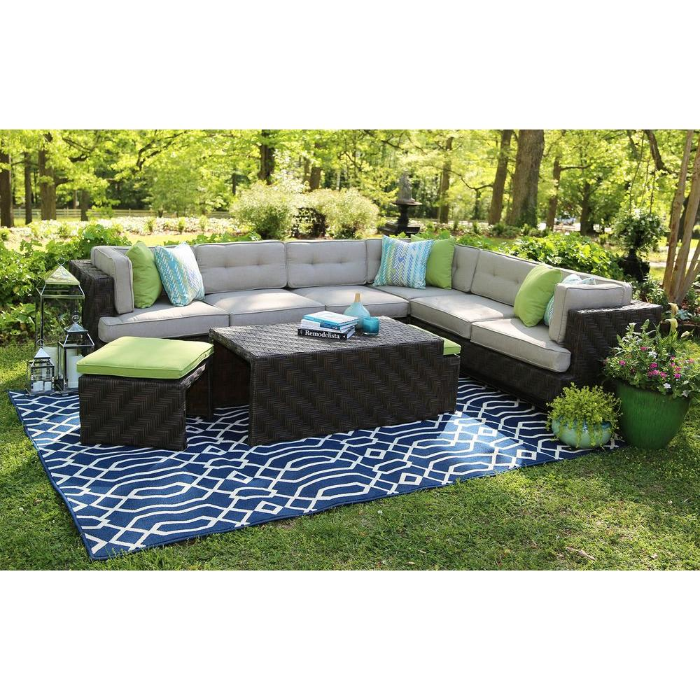 ae outdoor canyon 7-piece all-weather wicker patio sectional with sunbrella  fabric ESBVAFG