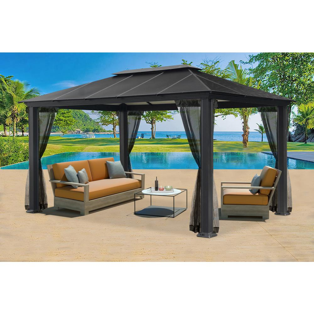 aluminum hard top gazebo with mosquito netting AQTMPHK