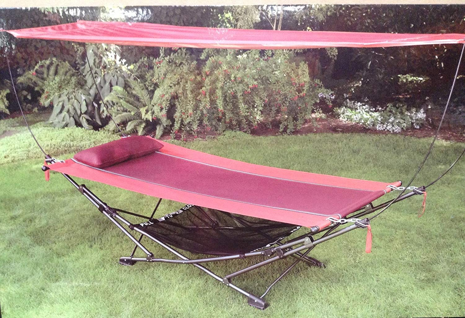 amazon.com : foldable, steel-frame hammock with canopy : garden u0026 outdoor PXABTDN