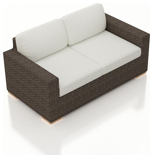 arden modern outdoor loveseat, canvas natural cushions WTWFNXB