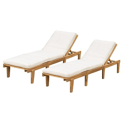 ariana set of 2 acacia wood patio chaise lounge with cushion - FIPBABY