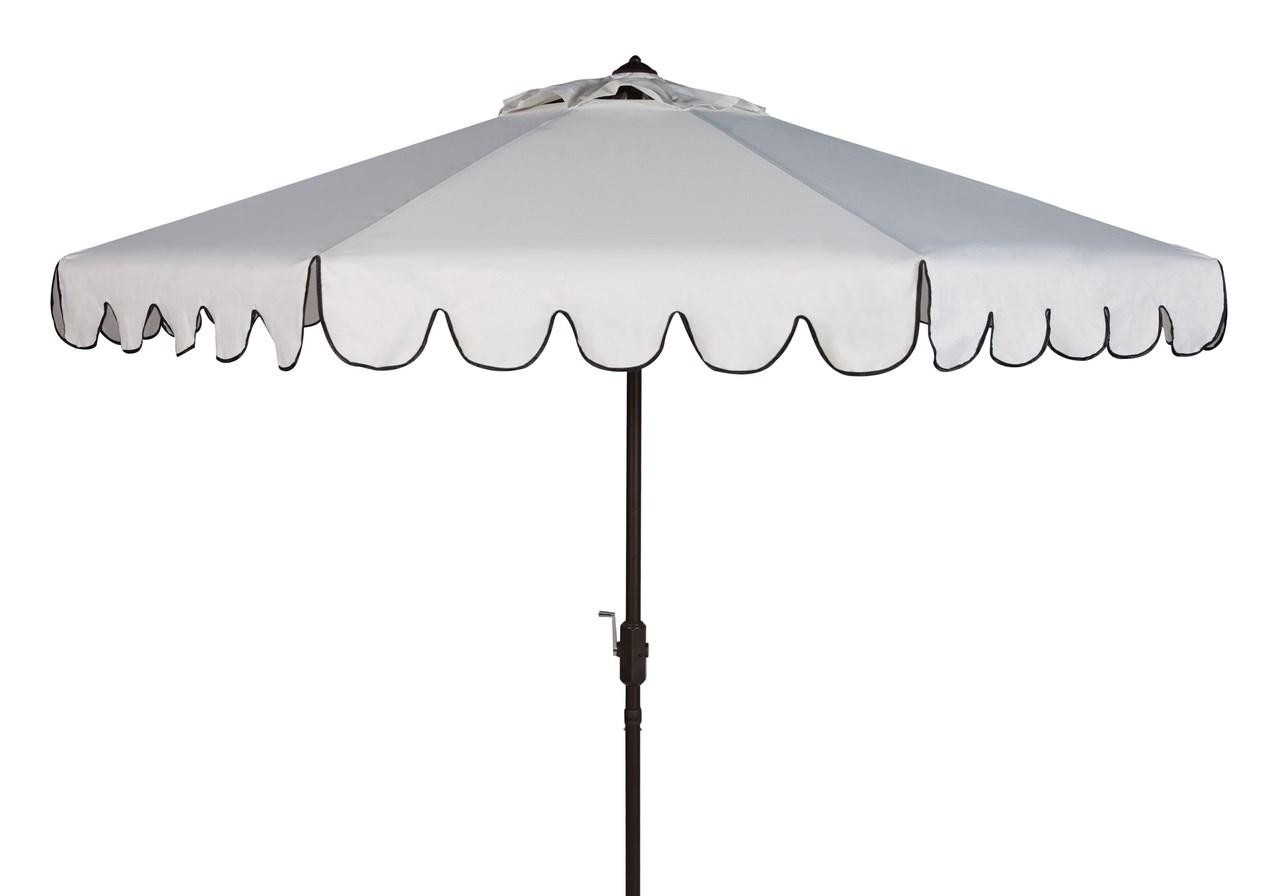 ask question about white scalloped outdoor umbrella with