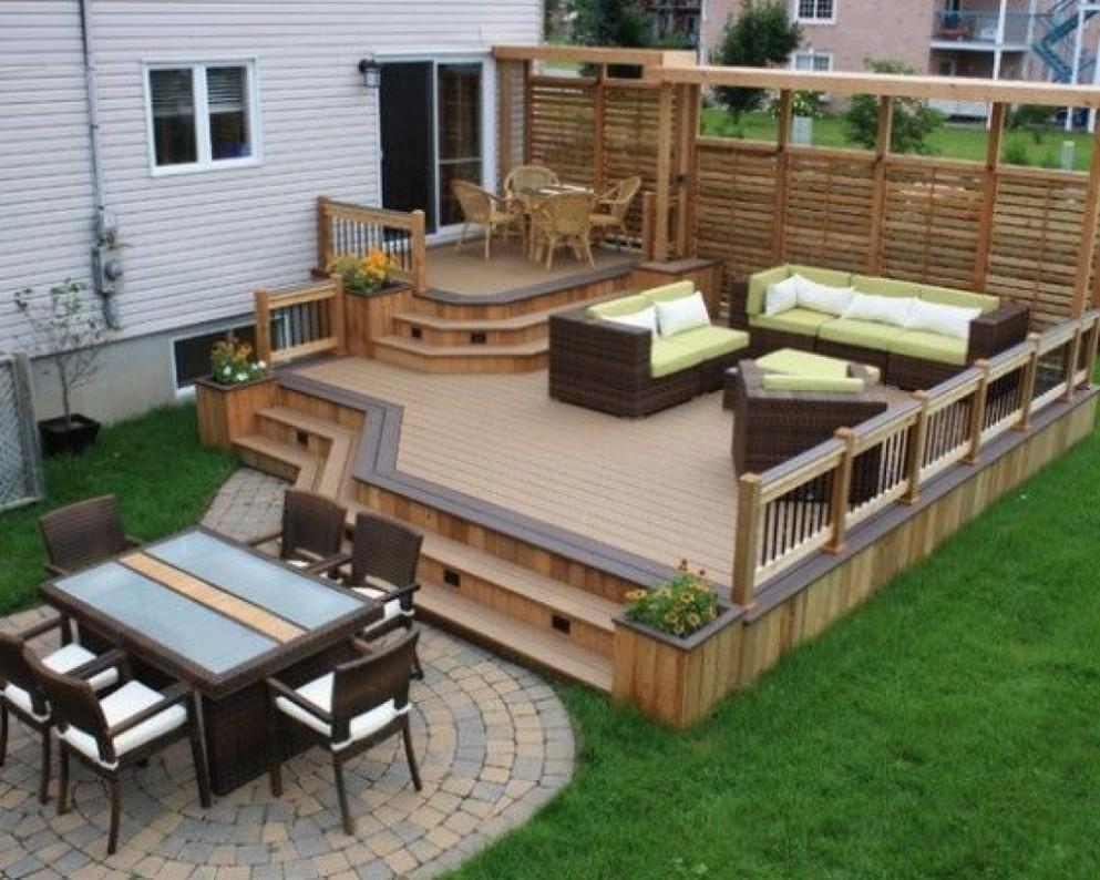 backyard ~ backyard deck designs chic backyard wood patio ideas 17 QVLKKQB