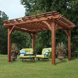 backyard canopy image is loading 10-x-12-wood-gazebo-pergola-kit-patio- GZPEAPG