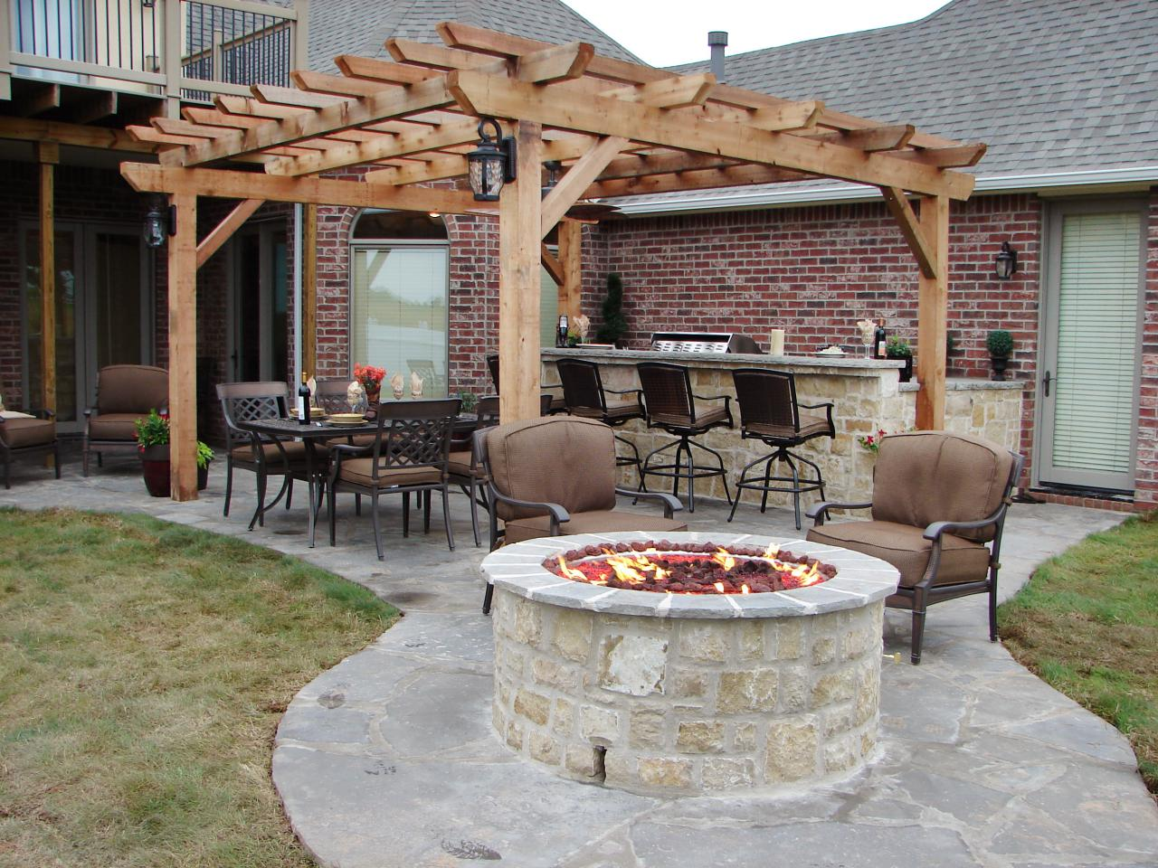 backyard fireplace featured in indoors out episode  CWBXORF