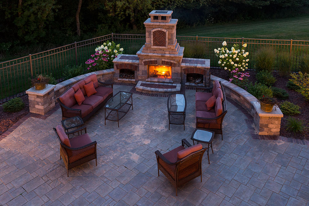 backyard fireplace landscaping outdoor fireplaces in appleton, wi XFGXHFB