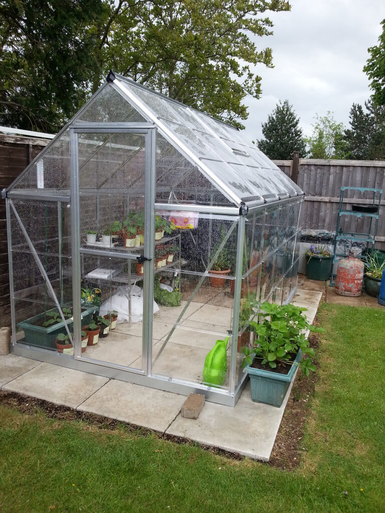 backyard greenhouse this is a small freestanding greenhouse on a stone stab out in VFTYAYT