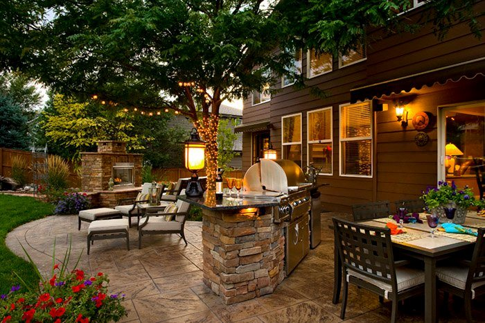 backyard landscaping backyard outdoor living, built-in grill, fireplace, stamped concrete patio backyard  landscaping QMGKYBA