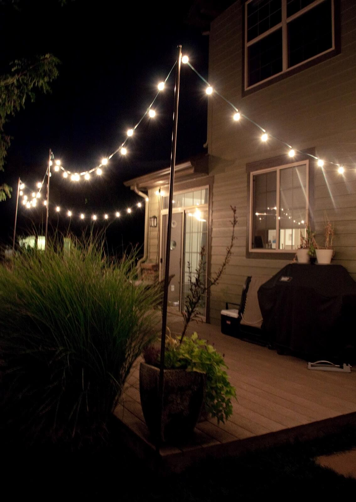 backyard lighting ideas year-round backyard deck string lights FZYOIUU