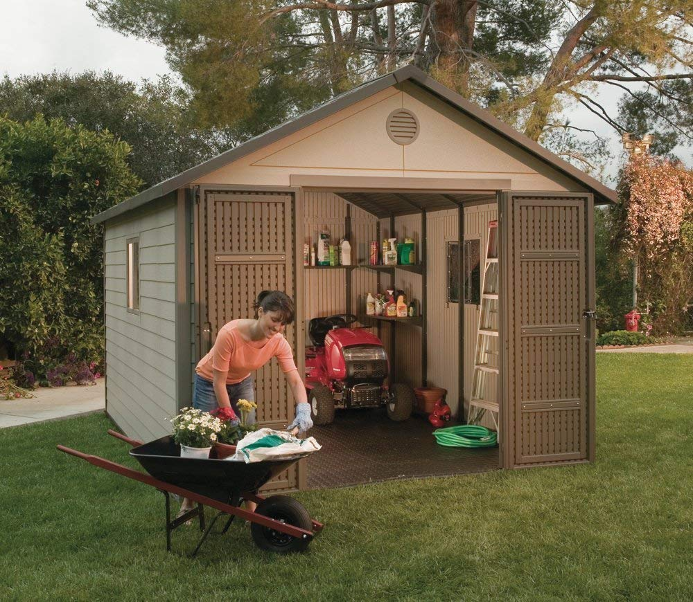 backyard storage sheds amazon.com : lifetime 6433 outdoor storage shed with windows, 11 by 11 BVDKWZY