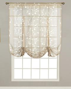 balloon shades taupe savannah sheer tie up curtain hanging on a decorative rod OAPMCEA