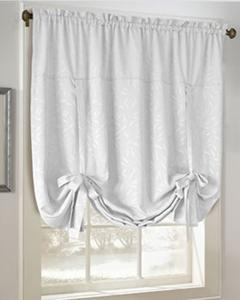 balloon shades white whitfield decorative tie up curtain hanging on a decorative rod UGQQIFH