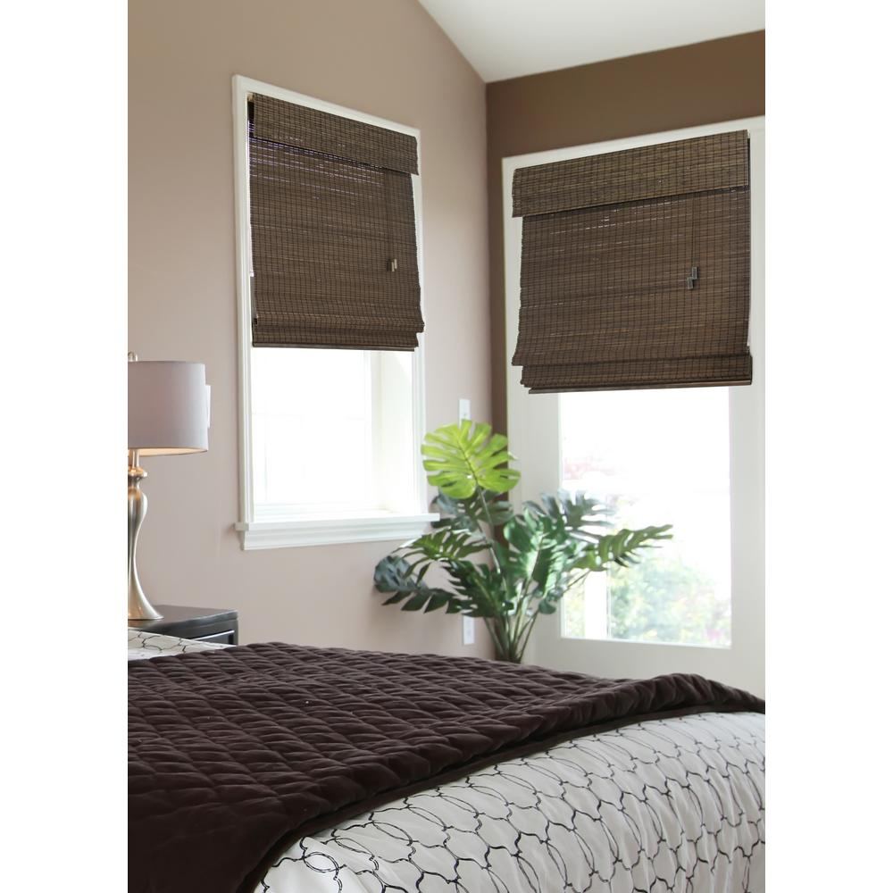 bamboo roman shades home decorators collection espresso flatweave bamboo roman shade - 72 in. w AMKECKV