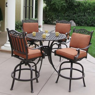 bar height patio set fairmont 5 piece bar height dining set with cushions ESTGIWQ