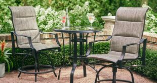 bar height patio set hampton bay statesville pewter 3-piece outdoor balcony height dining set BCXGIIN