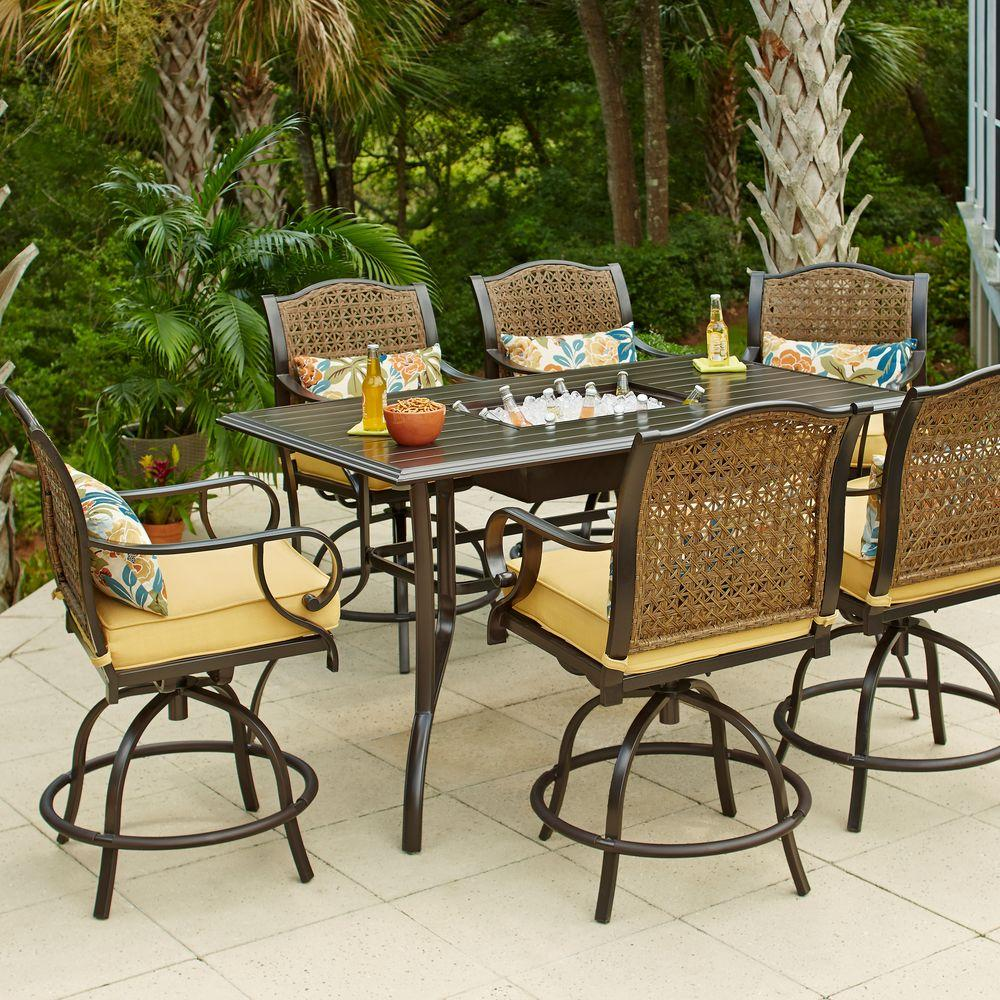 bar height patio set hampton bay vichy springs 7-piece patio high dining set OGTZEKL