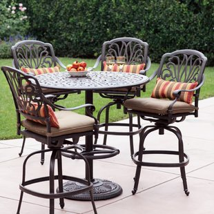 bar height patio set lebanon 5 piece bar height dining set with cushions WHERGNF