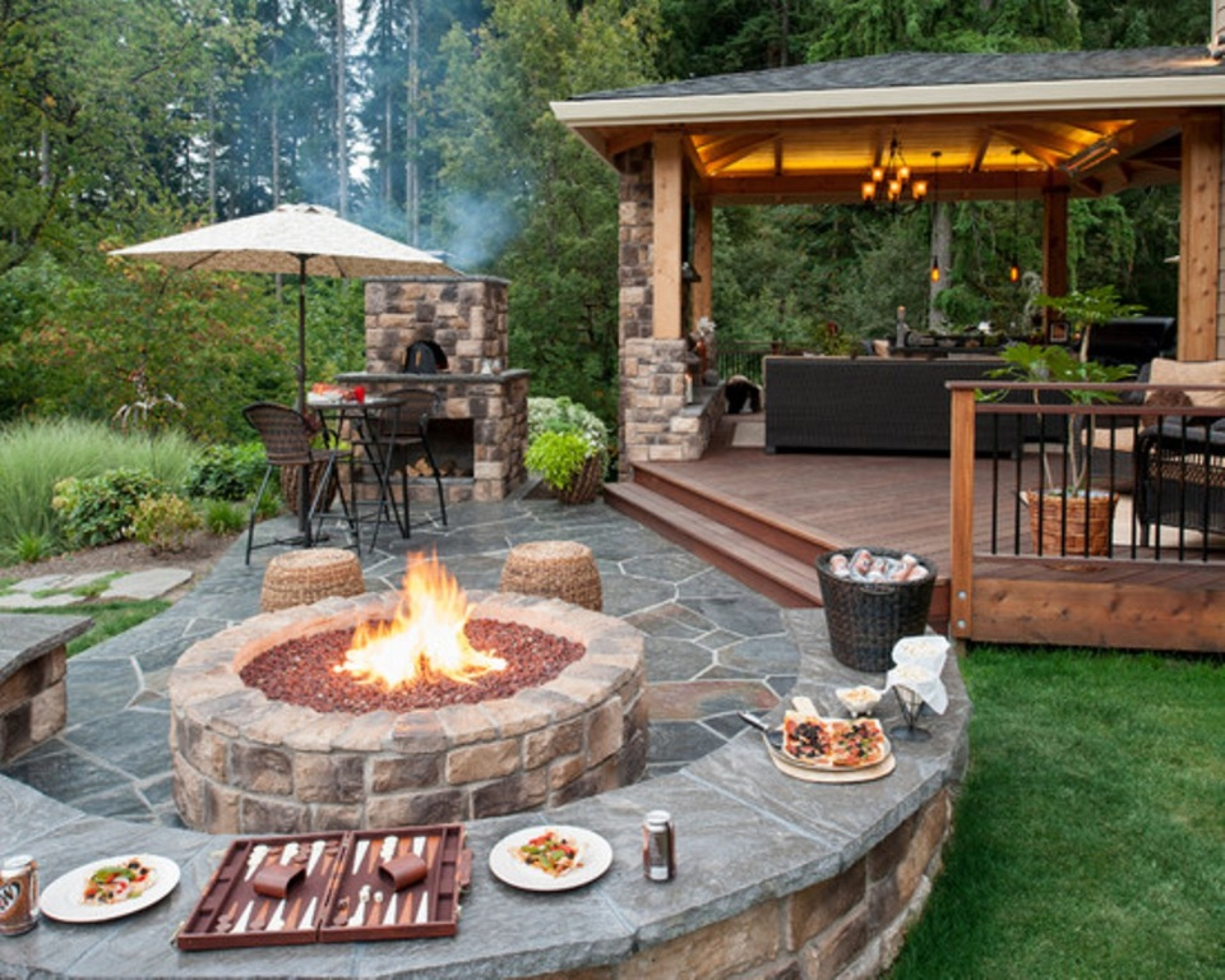 beautiful outdoor patio ideas for small backyards with umbrella beside  brick BGKHVJR