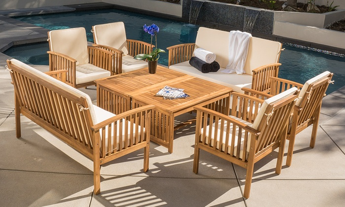 beckley 8-piece wood outdoor seating set ... RICJOXH