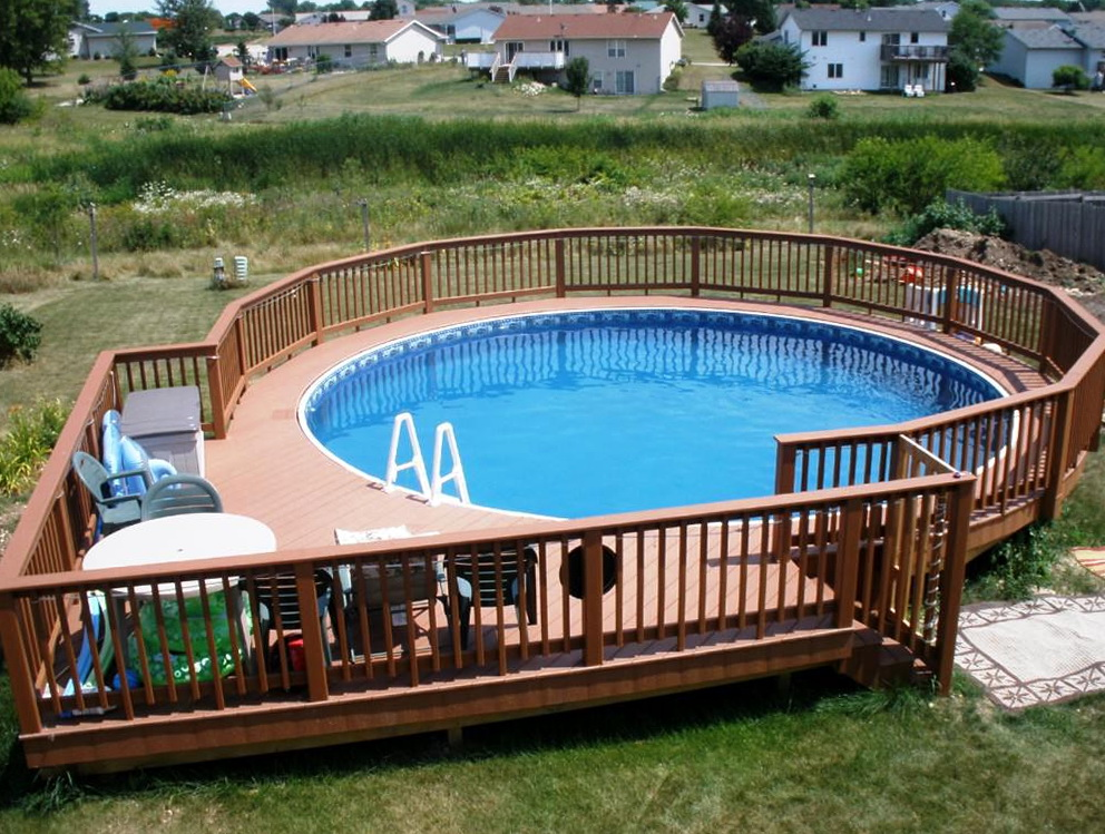 best above ground pools with decks design ideas UAMWCOB