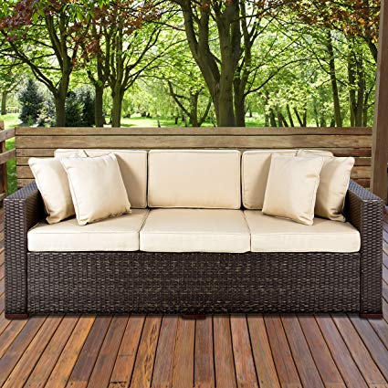 best choice products 3-seat outdoor wicker sofa couch patio furniture  w/steel RFIXFAU