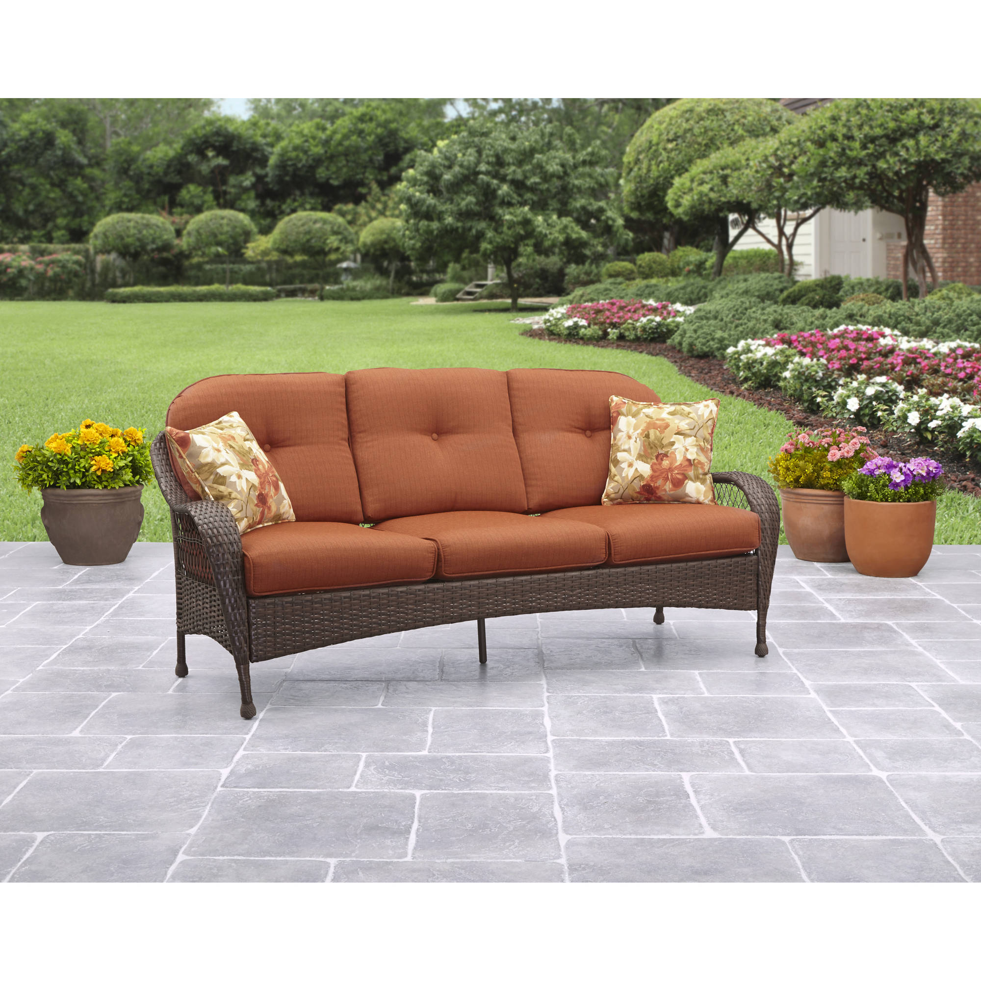 better homes and gardens azalea ridge outdoor sofa, seats 3 - walmart.com ASFYPEL