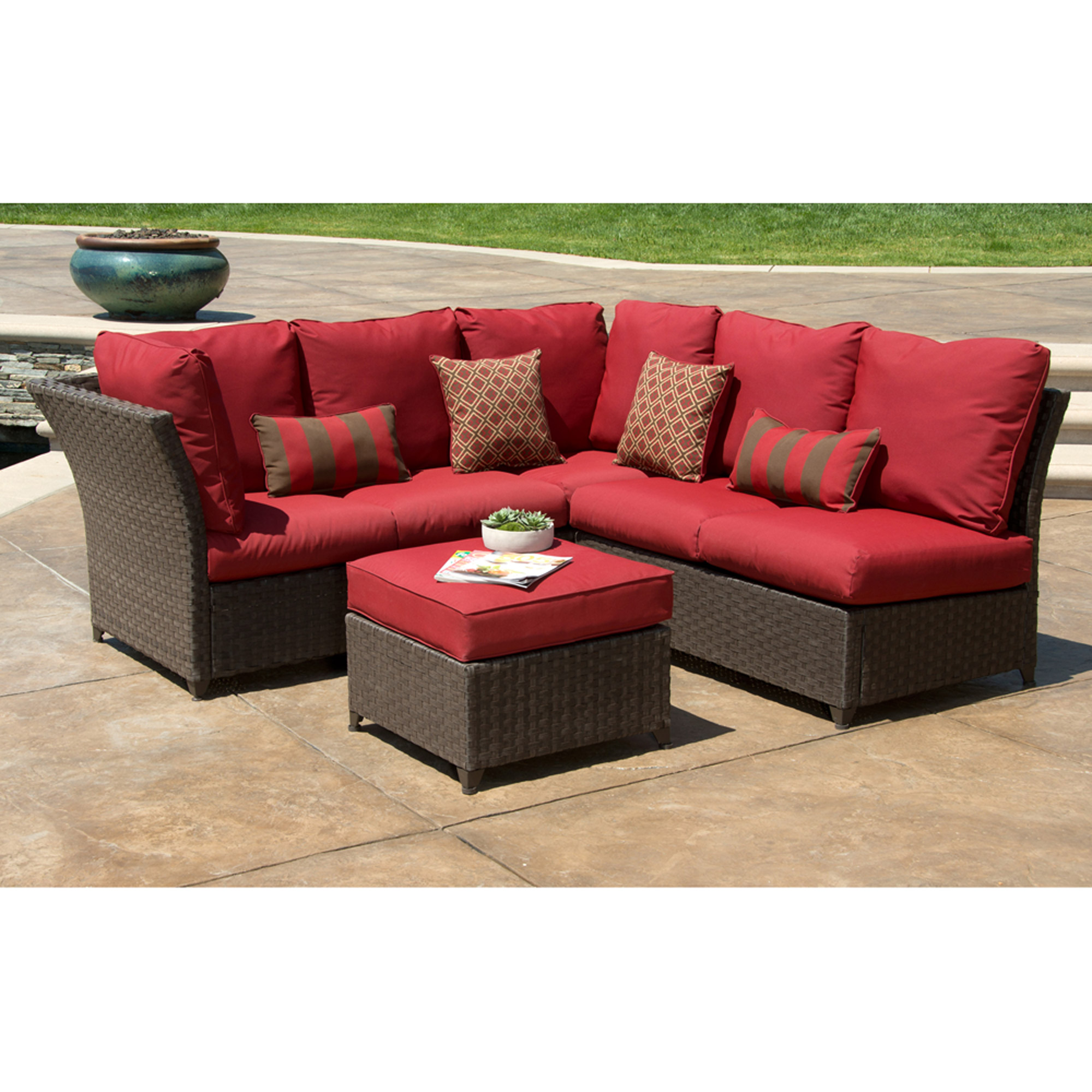 better homes and gardens rushreed 3-piece outdoor sectional sofa set, red, ARACTQV