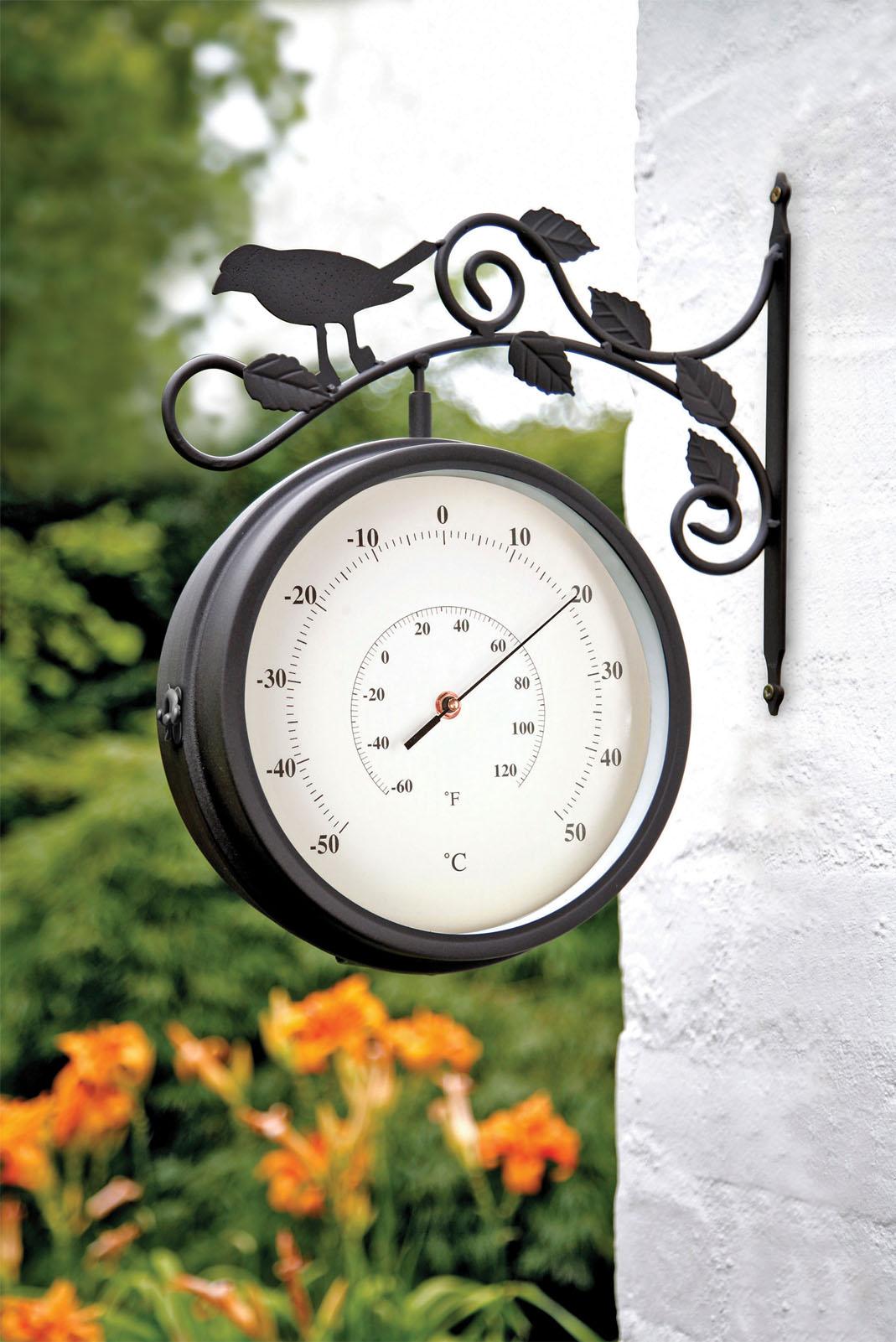 birds of britain swivel garden clock thermometer 4372
