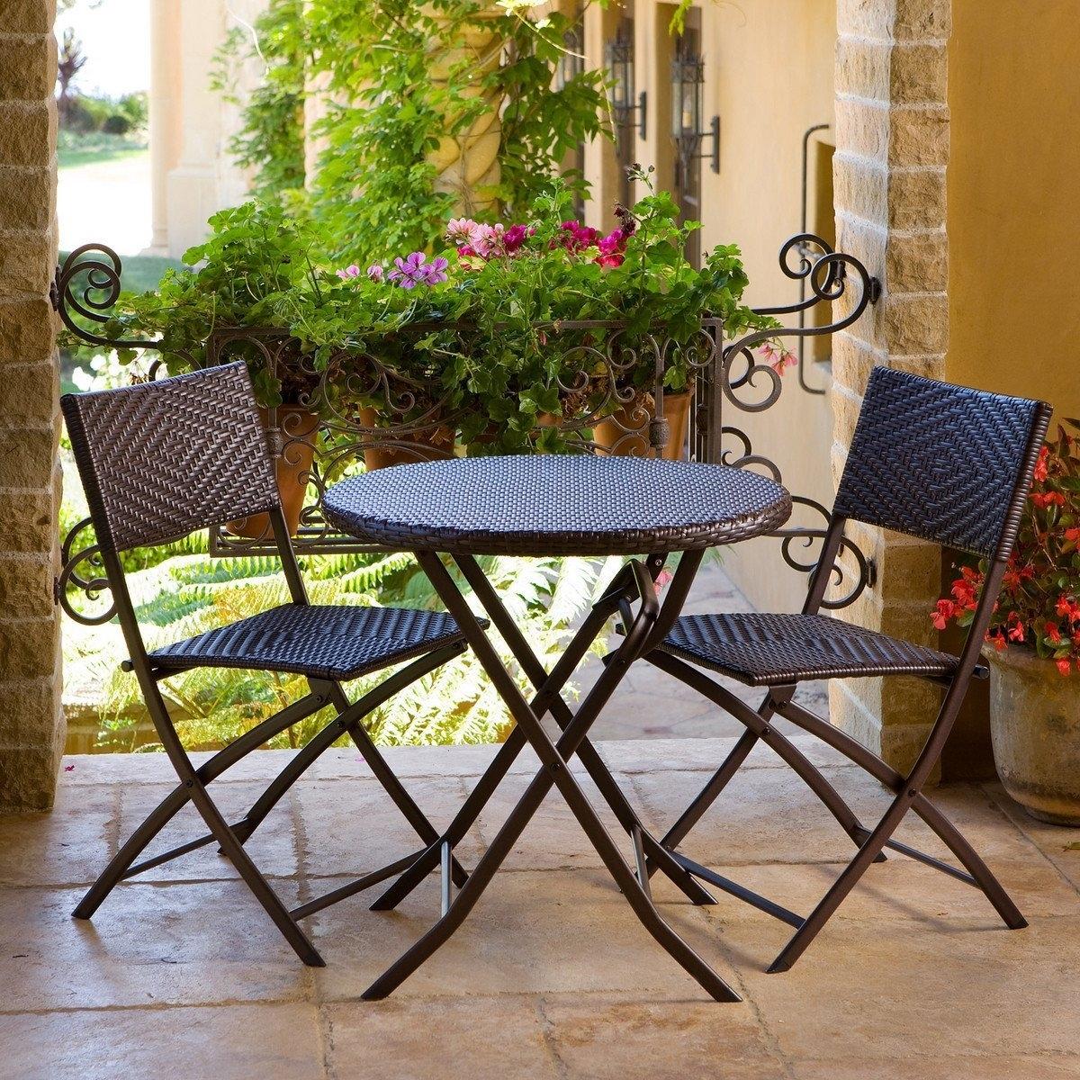bistro patio set 3 piece outdoor bistro patio furniture set in espresso SOANLOW