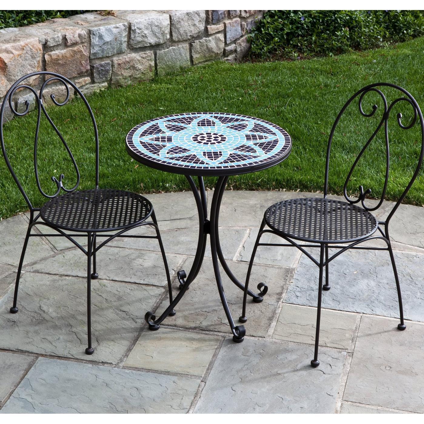 bistro patio set alfresco home le mans 2-person wrought iron patio bistro set with mosaic XBSAVVN