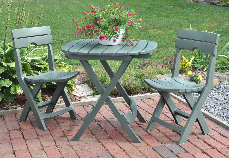 bistro patio set amazon.com : adams manufacturing 8590-01-3731 quik-fold cafe bistro set,  sage : ZEROURR