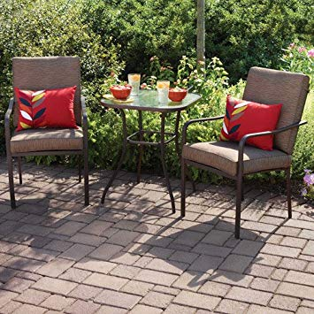 bistro patio set amazon.com: crossman 3 piece all weather square outdoor bistro furniture  patio WCGSHAY