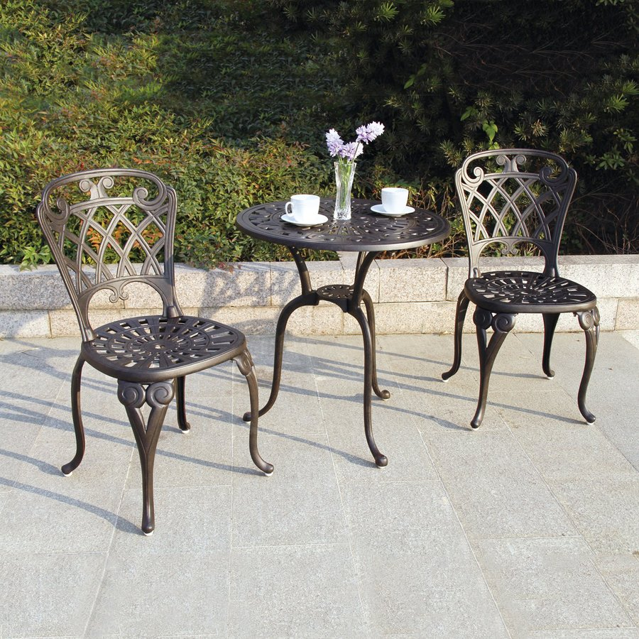 bistro patio set darlee new port 3-piece bronze metal frame bistro patio dining set PDIBACS